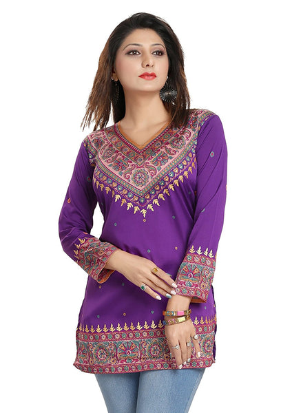 Online Short Kurtis Violet Color Digital Printed Short Kurtis K35