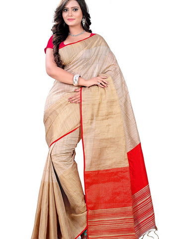 Beige & Red Color Handcraft Work Linen Silk Sarees S038