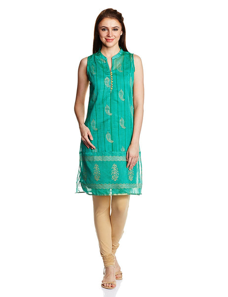 Straight Synthetic Short Kurta Green Color Short Kurtis With Golden Print Work K69