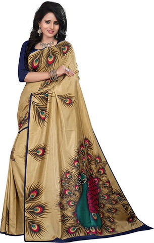FS-35 Festival Sale Designer Beige Color Peacock Feather Design Bhagalpuri Art Silk Sarees