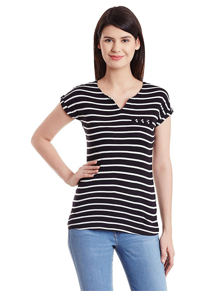 Black & White Striped Printed T-Shirts For Girls Ladyindia38