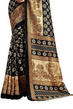 Cotton Silk Black & Golden Buttis Printed Saree For Women