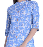 Navy Blue Straight Cotton Kurta Printed Cotton Kurtis For Girl A024
