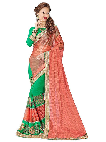 fs-23-indian-festival-saree-peach-&-green-color-designer-georgette-sarees-for-women