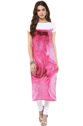 Latest Designer Women's Pink Casual Crepe Kurti