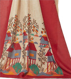 Pure Linen Cotton Saree Tree Printed Design Work S018