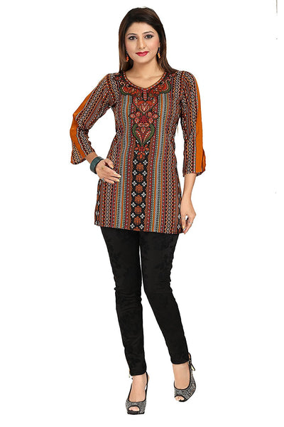 Multicolor Synthetic Printed Kurtis Kurtas Designer Short Kurtis For Girl K20