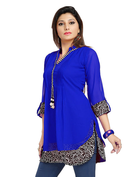 Designer Short Kurtis A- Line Chiffon Kurtis Royal Blue Color Printed Short Kurtis K53