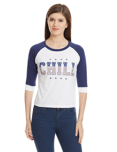 Blue & White Color Casual T-Shirts For Girls With Graphical Print Ladyindia19