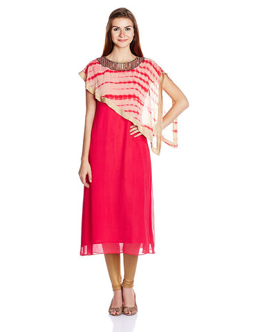 Latest Fancy Designer A-Line Kurta With Cape - Designer Kurtis