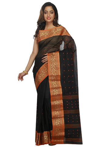 black-&-orange-bengal-cotton-handloom-sarees-with-booti-and-golden-floral-border