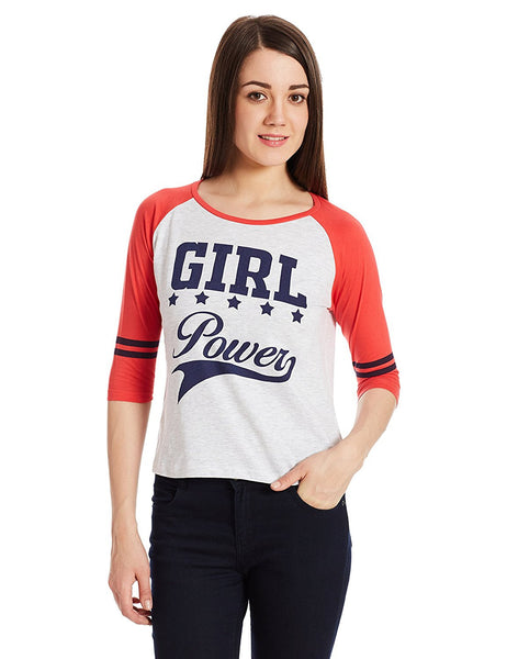 Orange & Off-White Color T- Shirts For Girls s Online Casual Cotton T-Shirts For Girls Ladyindia20