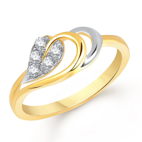 Designer Decent Leaf Gold And Rhodium Plated Ring For Women
