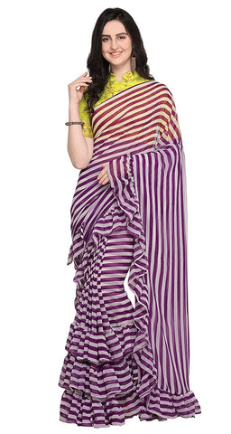 Women's Georgette Striped Design Ruffle Saree