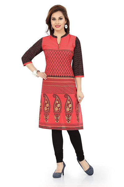 Red Kurti And kurta Cotton Printed Cotton Kurtis For Ladies