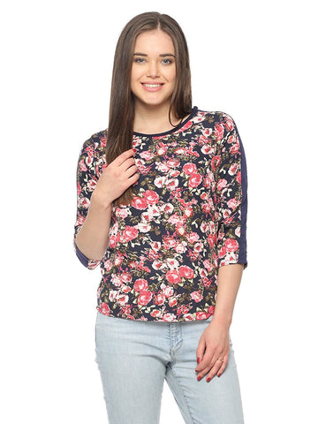 Dark Navy Color Casual Tops Viscose Floral Print Top For Girls Ladyindia82