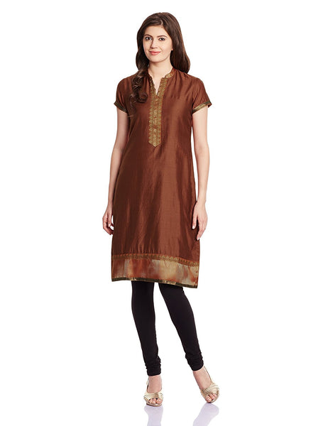 Straight Synthetic Short Kurta Kurti Brown Color Kurtis For Girl K80