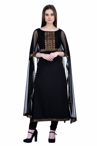 Black Net With Attached Dupatta Cape Style Kurti Designer Black Georgette Kurtis