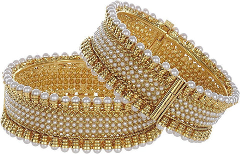 Gold Plated Pearl Studded Ethnic Traditional Party Wear Openable Bracelet Kangan Bangles