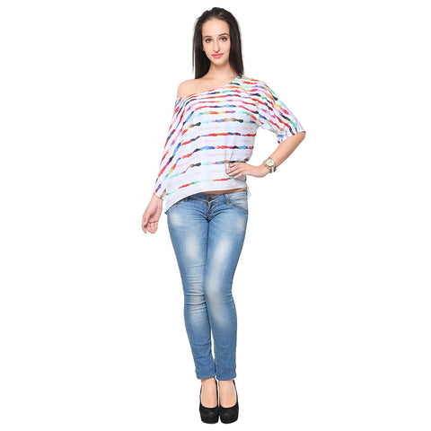 Multicolor Faux Crepe One Off Shoulder Printed Crop Top For Girls Ladyindia93
