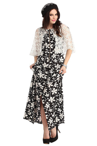 Latest Designer Butterfly White/Black Print Cape Story Dress - Designer Kurtis