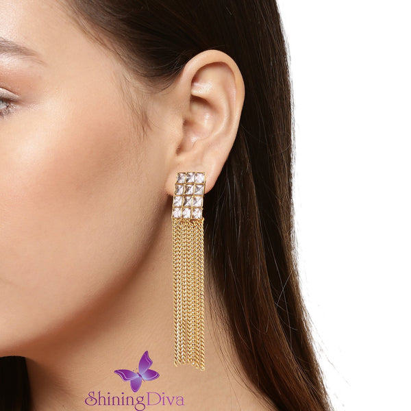 Gold Plated Austrian Diamond Studded Long Tassel Earrings For Girls