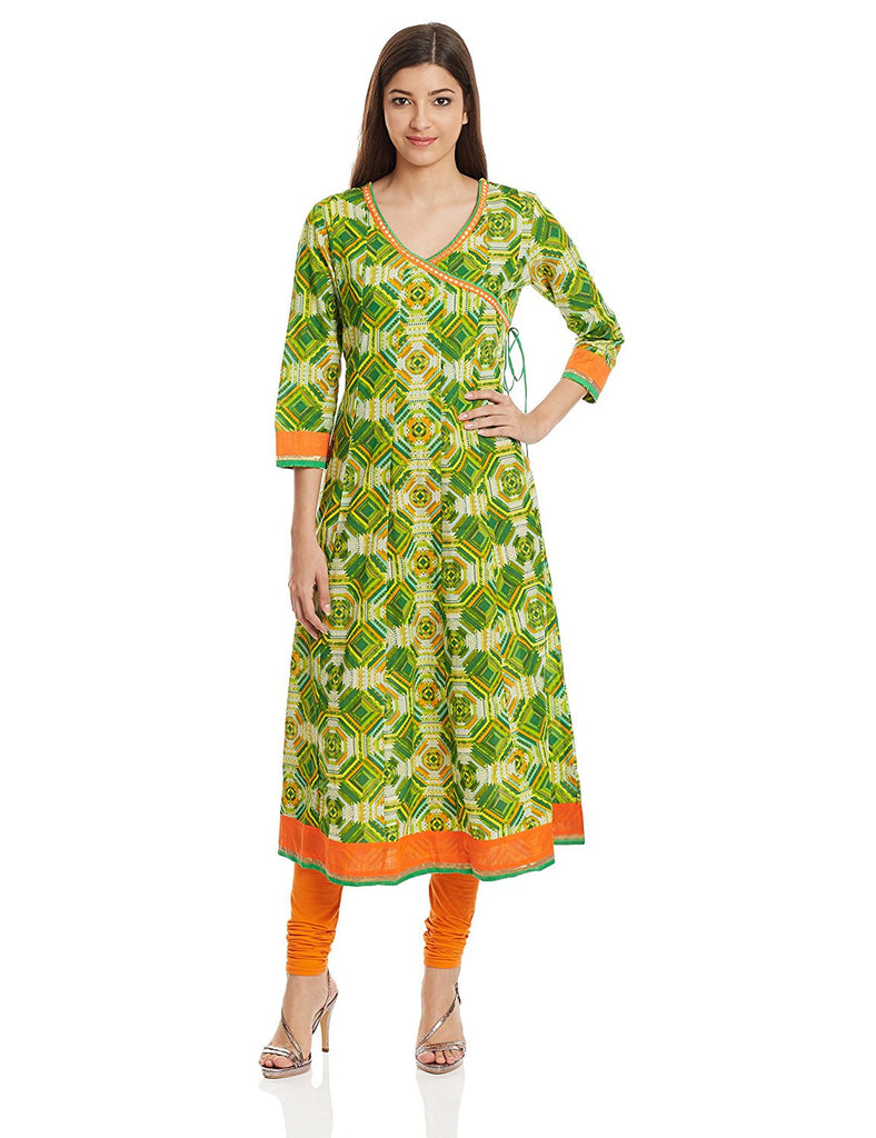 10220fdc978 Green Color Long Anarkali Kurti Casual Wear Cotton Printed Kurtis – Lady  India