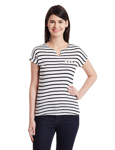 Black & White Striped Printed T-Shirts For Girls Ladyindia37
