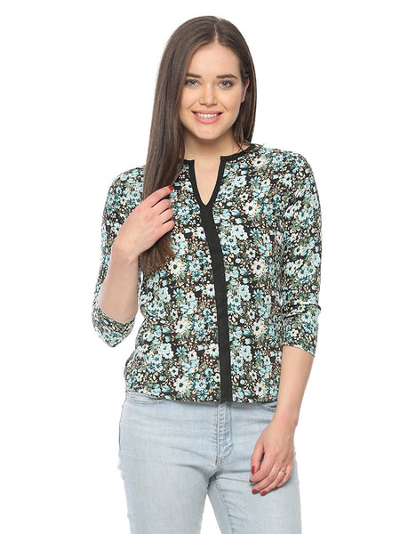 Dark Green Color Casual Tops Polycrepe Floral Print Top For Girls Ladyindia81