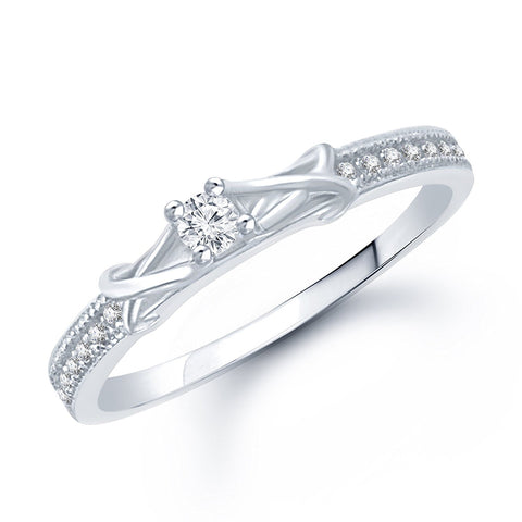 Designer Fancy Cz Rhodium Plated Ring For Women
