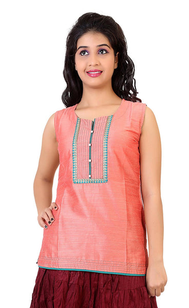 Short Designer Kurti Kurtas Peach Color Cotton Silk Kurtis For Girl K39