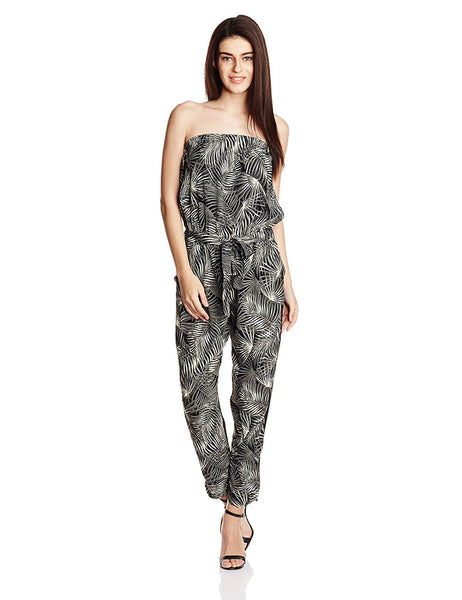 Black & Beige Color Off Shoulder Jumpsuit With Foliage Print