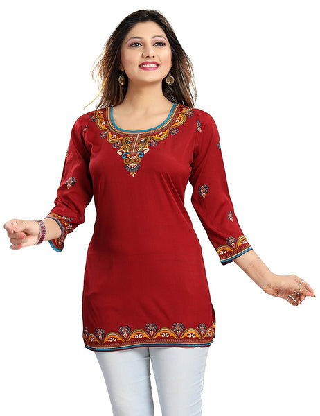 Red Color Synthetic Printed Kurtis Kurtas Designer Short Kurtis For Girl K21