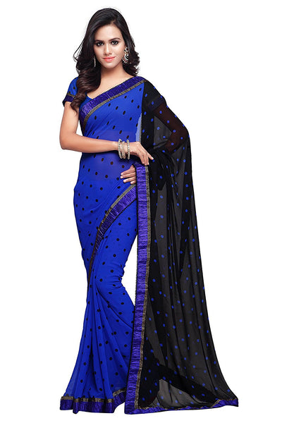 Trendy Georgette Sarees With Dots Print Lace Border Work S055