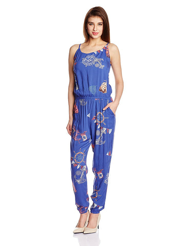 Awesome Navy Blue Printed Jumpsuits