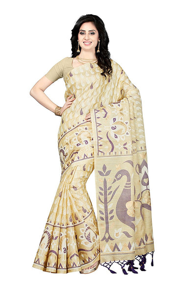 Beige & Off White Color Bhagalpuri Printed Sarees S046