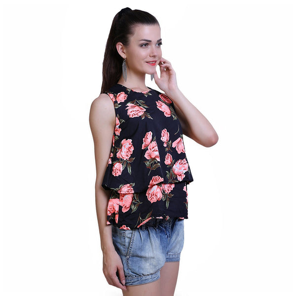 Multicolor Womens Crop Tops With Rose PrintLadyindia55