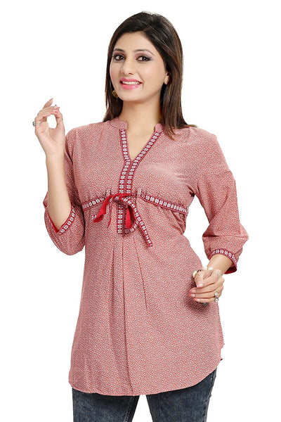Short Kurtis Online Skin Color A- Line Rayon Printed Kurti For Girl K54