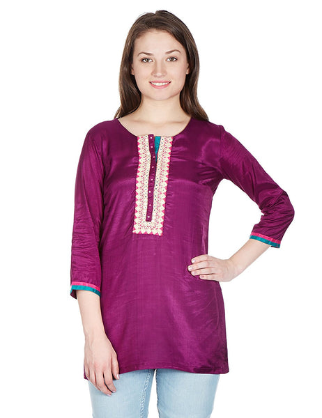 Magenta Color Short Kurtis Straight Synthetic Short Kurta Kurti For Girl K82