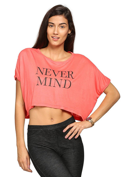 Crop Top Pink Color Casual Tops For Girls Ladyindia52