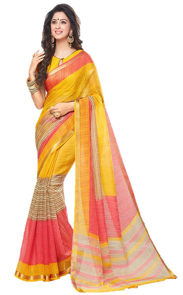 Pure Chanderi Printed Saree With Stripes Design For Women S019