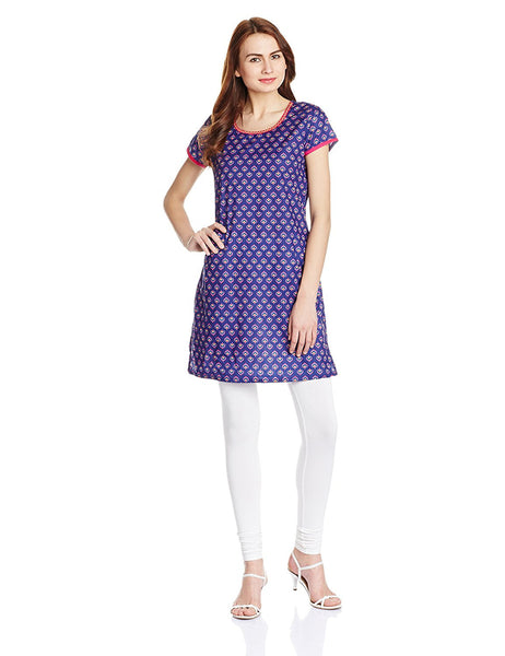 Printed Short Kurtis Violet Color Straight Short Kurti K99
