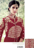 Partywear Maroon Colored 23683 Designer Georgette Anarkali Style Front Open Embroidered Salwar Suit