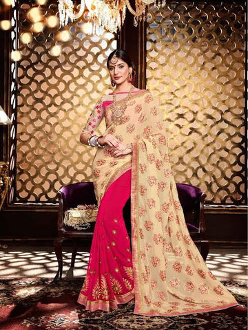 Designer Georgette Sarees Cream & Pink Colored Khadi Floral Print & Embroidered Saree