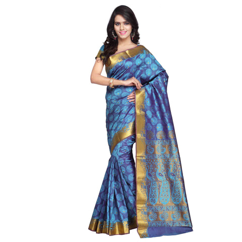 Designer Blue Kanjivaram Art Silk Paithani theme Border & Rich Zari butta Party Wear Saree