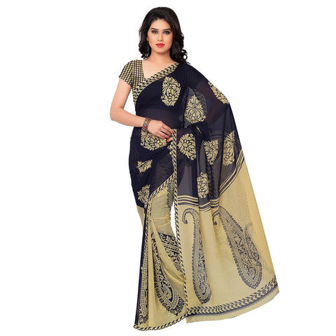 Faux Georgette Self Print Saree Designer Printed Casual Sarees