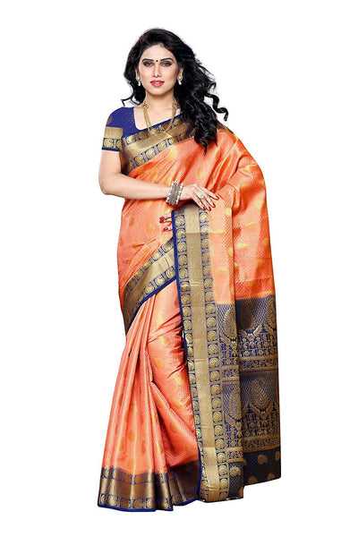 Traditional Peach Art Silk Sarees Kanjivaram Style Printed Silk Sarees With Blouse