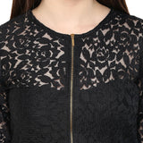 Partywear Tops Black Color Net Top With Front Zip Ladyindia72
