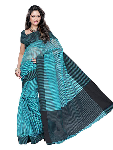 Skyblue & Black Color Cotton Saree With Checks Print Work S045