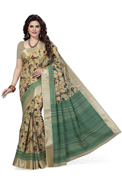 Poly Cotton Sarees Design With Peacock Print & Golden Lace Border Work S070